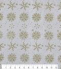 Holiday Decor Christmas Fabric-Snowflake Glitter Organza White Gold