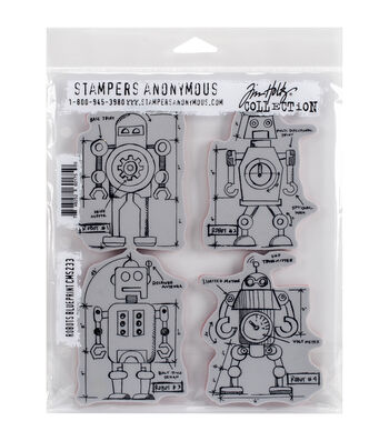 Stampers Anonymous Tim Holtz Robots Blueprint Cling Rubber Stamp Set