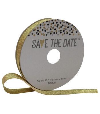 Save the Date 5/8'' X 15' Ribbon-Gold Metallic