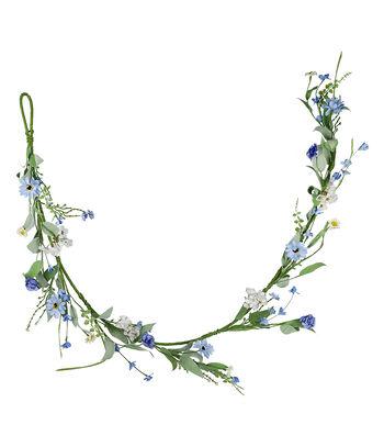 Fresh Picked Spring 66'' Wildflower & Zinnia Garland-Blue