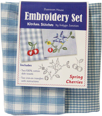 "Spring Cherries Kitchen Stitches Tea Towel Embroidery Kit-20""X28"""