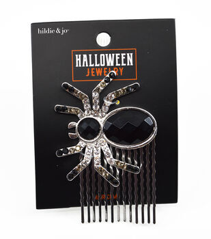 hildie & jo Halloween Jewelry Spider Hair Comb with Rhinestones
