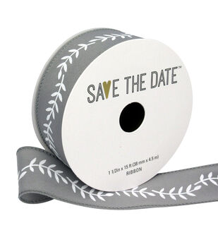 "Save the Date 1.5"" x 15ft Ribbon-White Fern On Light Grey"