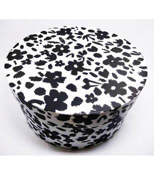 Round Photo Storage Box-Black White Patterned