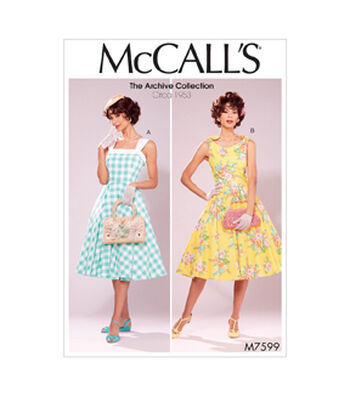 McCall's Pattern M7599 Misses' Lined Fit & Flare Dresses with Petticoat