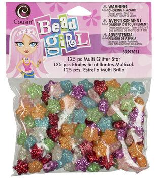 Cousin Bead Girl 125 pk Glitter Star Beads-Assorted Colors