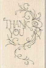 "Inkadinkado Mounted Rubber Stamp 4""X2.75""-Thank You Flourish Frame, , hi-res"