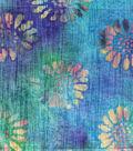 Textured Cotton Batik Apparel Fabric-Flowers on Blue