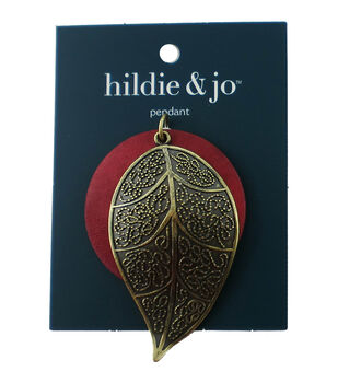 hildie & jo Red Wood Circle with Antique Gold Leaf Pendant