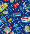 Novelty Cotton Fabric-Robots On Blue
