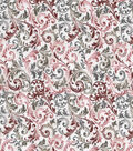 Vintage Cotton Fabric -Green & Red Scrolling Vines