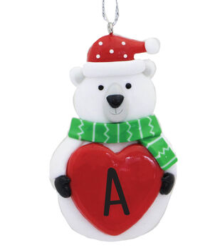 Handmade Holiday Christmas Polar Bear Ornament with Initial