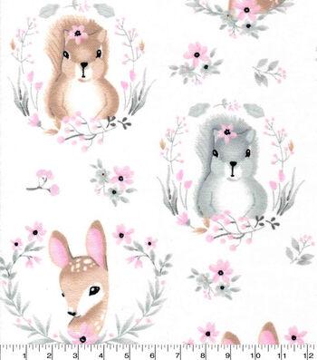 Fawn Fox Bunny Woodland Stripe Nursery Baby Fabric Timeless Treasures YARD