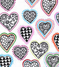 Snuggle Flannel Print Fabric -Cut Out Hearts