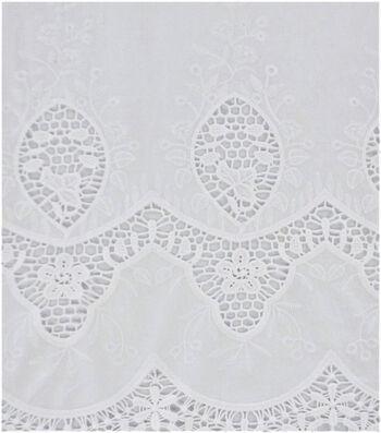 Cotton Apparel Crochet Fabric 47''-White Scalloped