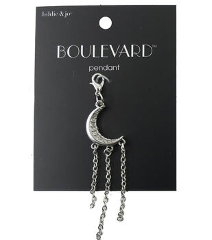 hildie & jo Crescent Silver Pendant with Chains-Clear Crystals