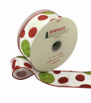 Handmade Holiday Christmas Ribbon 1.5''x30'-Glitter Dots on White
