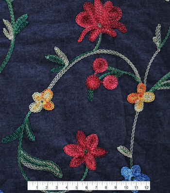 Denim Embroidered Cotton Fabric-Blue Multi Floral