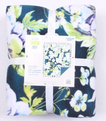 "No-Sew Throw Fleece Fabric 72""-Vintage Floral"