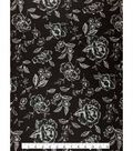 Knit Fabric -Sketched Floral on Black
