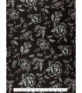 Knit Fabric 57\u0027\u0027-Sketched Floral on Black