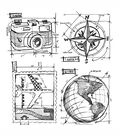 Tim Holtz Cling Rubber Stamp Set-Travel Blueprint