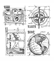 Tim Holtz Cling Rubber Stamp Set-Travel Blueprint, , hi-res