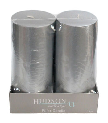 Hudson 43 Candle & Light Collection 2  Pack 3X6 Silver Pillar