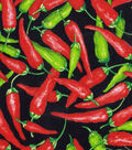 Novelty Cotton Fabric -Green Red Chili Peppers