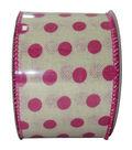 Decorative Ribbon 2.5\u0027\u0027 X 15\u0027-Pink Dot on Cream