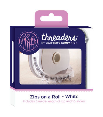 Crafter's Companion Threaders Zips On A Roll 5-1/2yd-White