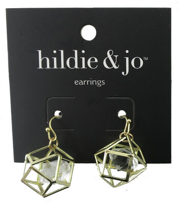 hildie & jo Geometric Gold Earrings-Clear Crystal