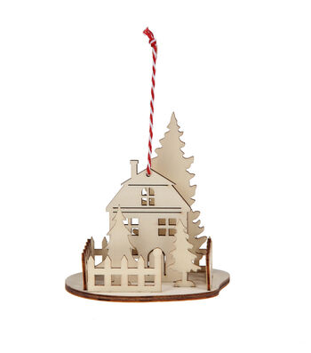 Maker's Holiday Craft Christmas Unfinished Wood 3D House Ornament