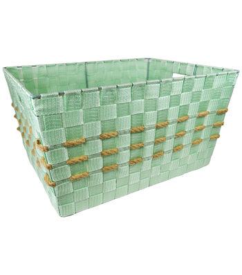 Organizing Essentials Large Strap Bin With Hemp Yarn-Mint