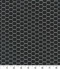 Quilter\u0027s Showcase Cotton Fabric -Hexagon Wire on Black
