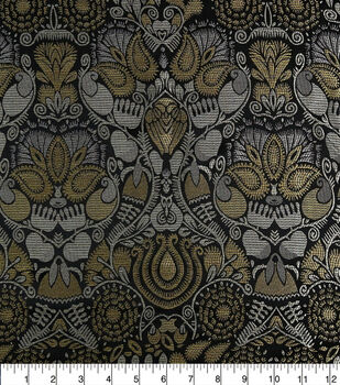 Brocade Fabric-Metaliic Leaves