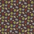Quilter\u0027s Showcase Cotton Fabric -Multicolor Tossed Leaves on Plum