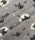 Halloween Doodles Cotton Interlock Fabric-Witches on Gray