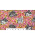 Anti-Pill Fleece Fabric 59\u0022-Cats On Floral