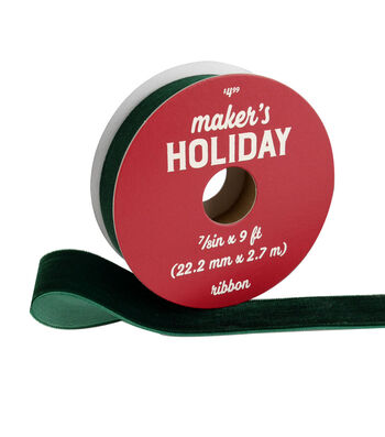 Maker's Holiday Traditional Holiday Velvet Ribbon 7/8''x9'-Green