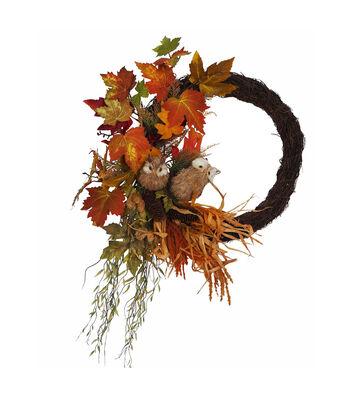 Blooming Autumn Owl, Pinecone & Vine Maple Wreath