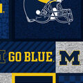 Michigan Wolverines Fleece Fabric-College Patches