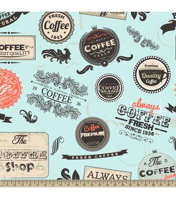 "Anti-Pill Fleece Fabric 59""-Vintage Coffee Badges"