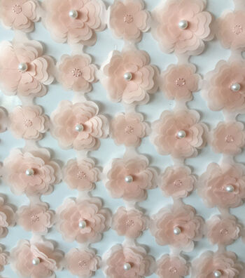 Gianna 3D Lattice Pearl Floral Fabric 51''