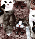 Snuggle Flannel Fabric -Photoreal Cats
