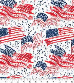 Patriotic Cotton Fabric-Patriotic Music Notes Glitter