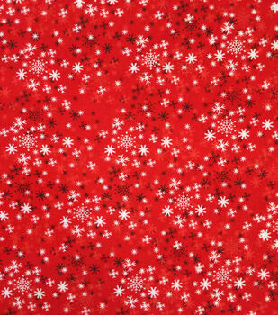 """Doodles Christmas Cotton Fabric 57""""-Red & White Snowflakes"""