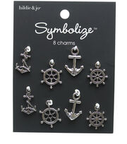 hildie & jo 8 pk Nautical Charms-Silver, , hi-res