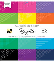 DCWV 48 Pack 6''x6'' Double-Sided Printed Cardstock Stack-Brights, , hi-res