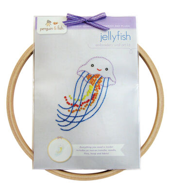 Jellyfish Hand Embroidery Wall Art Kit